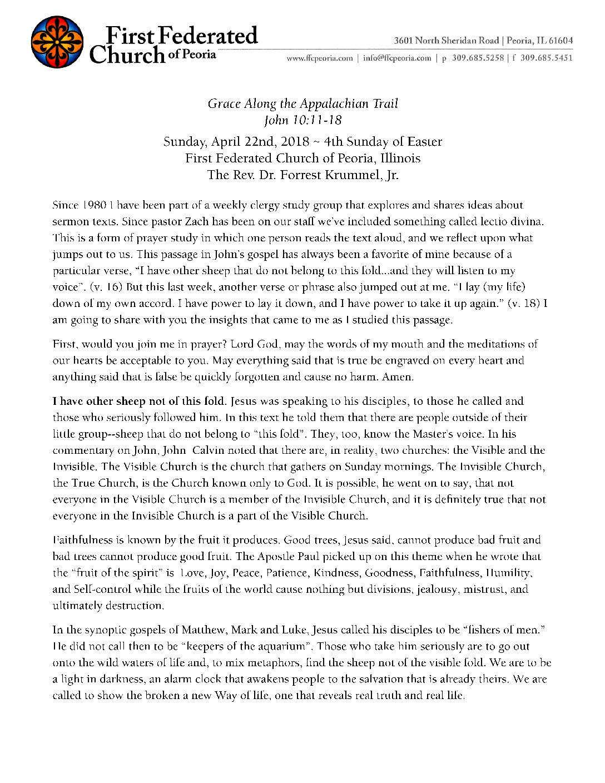 4-22-2018 Sermon – Krummel – Grace Along the Appalachian Trail