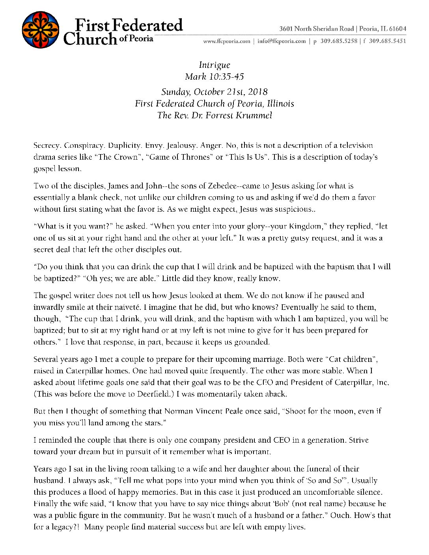 10-21-2018 Sermon, Krummel – Intrigue | First Federated